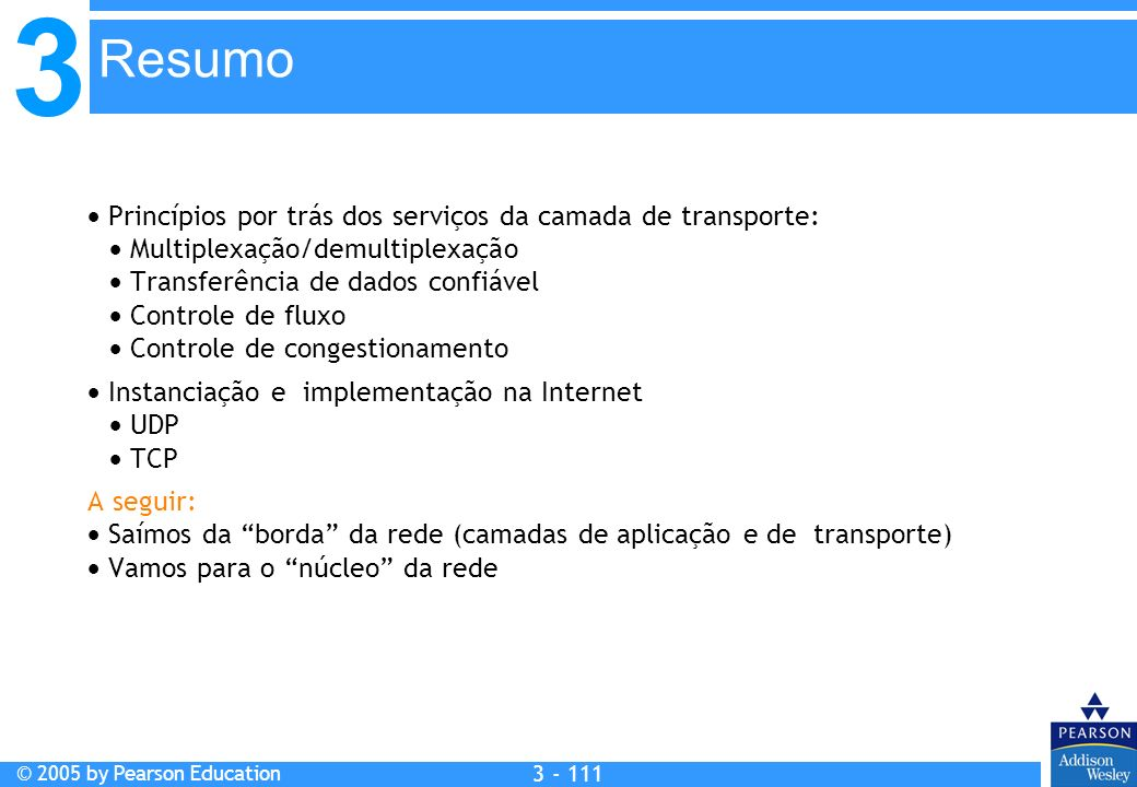 Resumo  Princípios por trás dos serviços da camada de transporte: