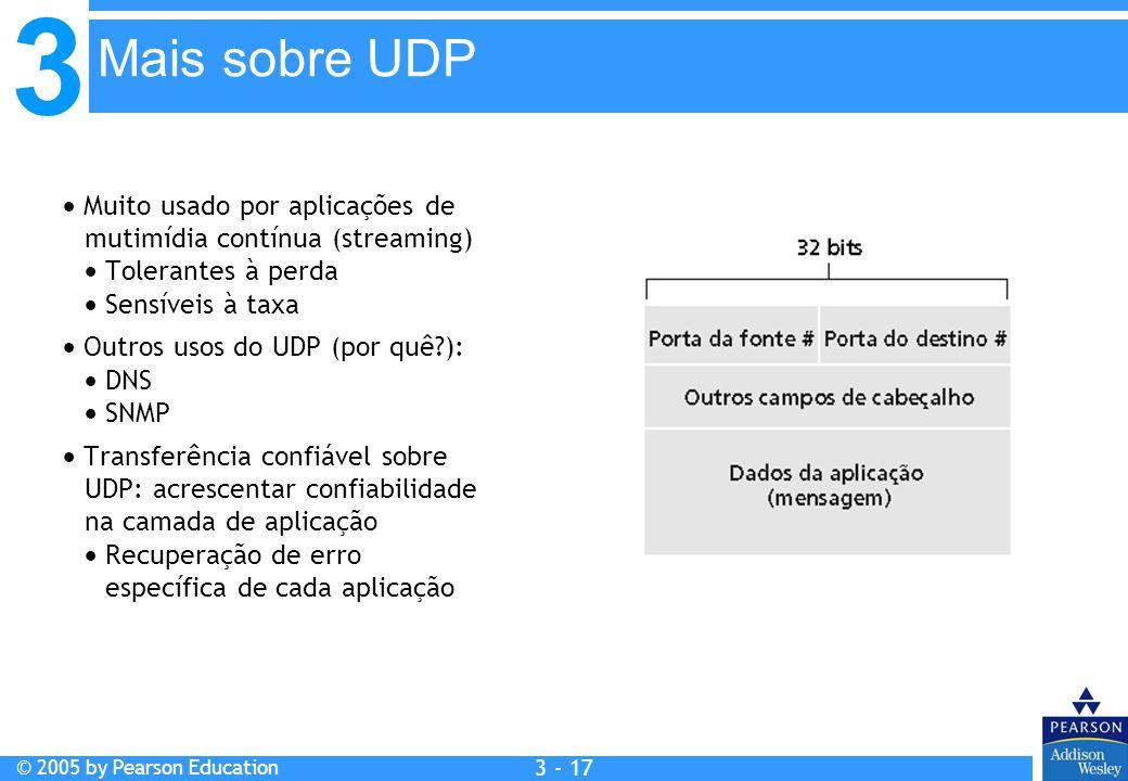 Mais sobre UDP Muito usado por aplicações de mutimídia contínua (streaming)  Tolerantes à perda.  Sensíveis à taxa.