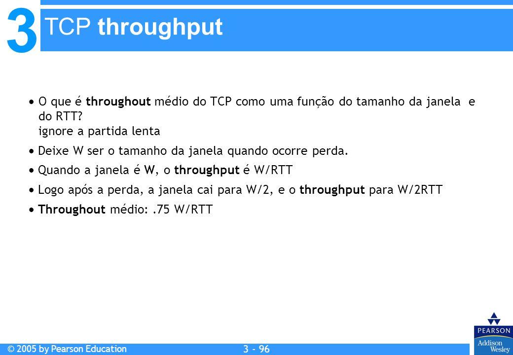 TCP throughput O que é throughout médio do TCP como uma função do tamanho da janela e do RTT ignore a partida lenta.