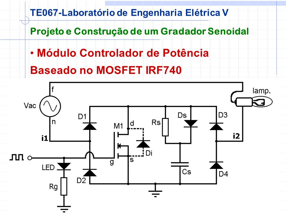 Módulo Controlador de Potência Baseado no MOSFET IRF740