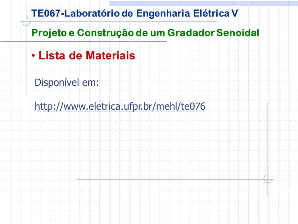 Lista de Materiais TE067-Laboratório de Engenharia Elétrica V