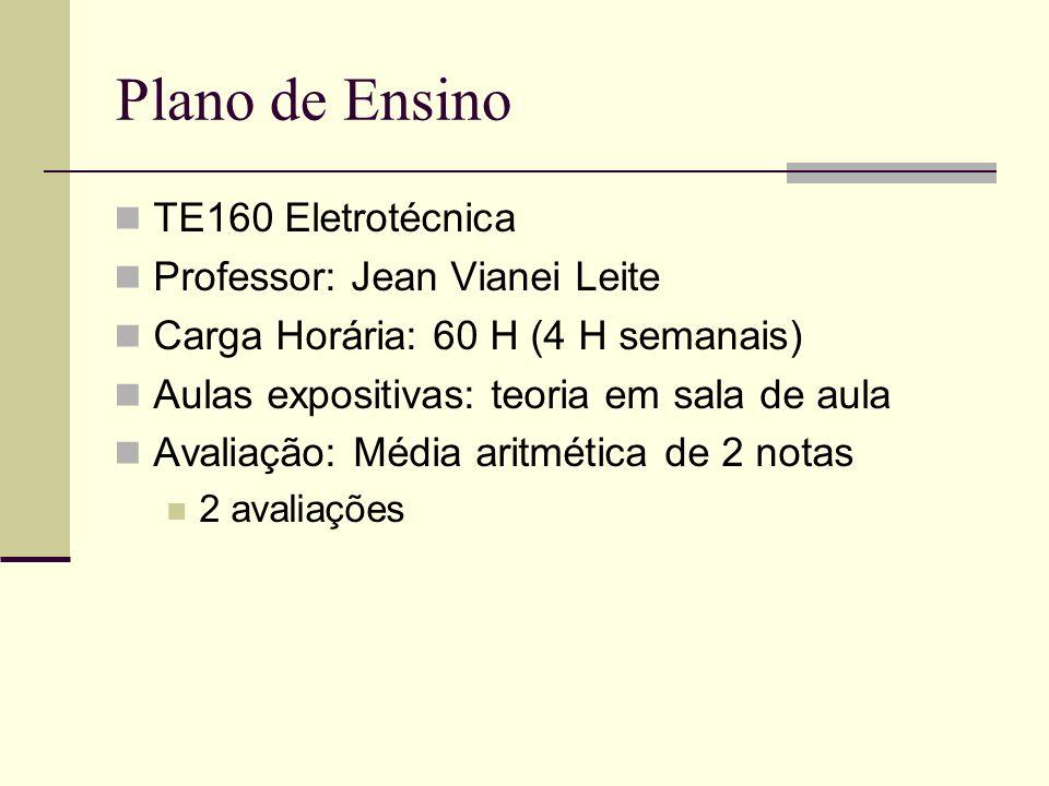 Plano de Ensino TE160 Eletrotécnica Professor: Jean Vianei Leite