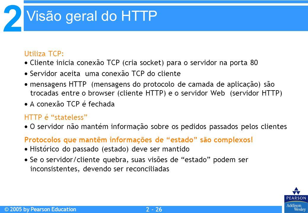 Visão geral do HTTP Utiliza TCP: