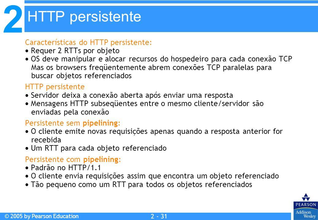 HTTP persistente Características do HTTP persistente: