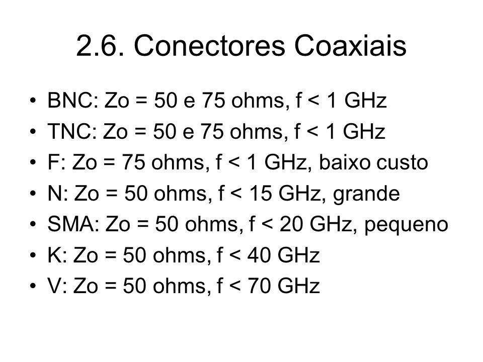 2.6. Conectores Coaxiais BNC: Zo = 50 e 75 ohms, f < 1 GHz