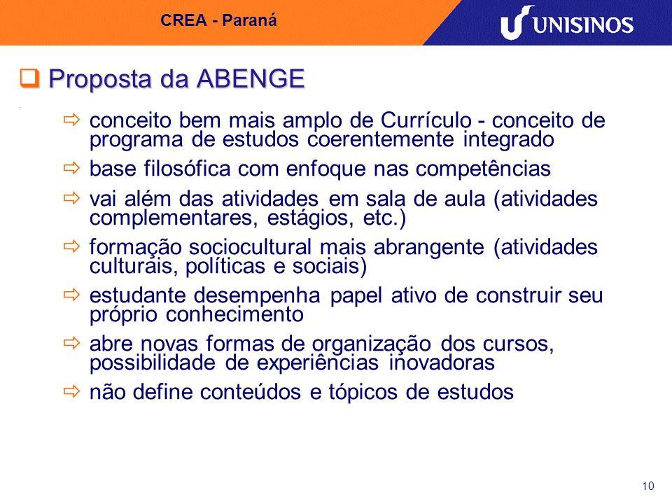 CREA - Paraná Proposta da ABENGE. conceito bem mais amplo de Currículo - conceito de programa de estudos coerentemente integrado.