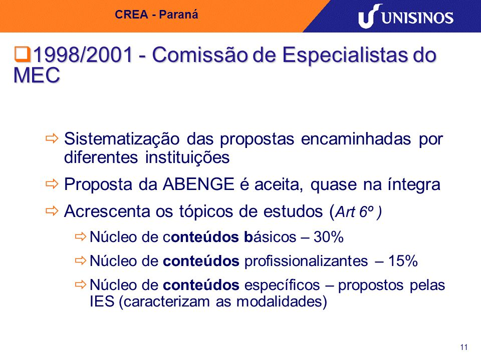 1998/2001 - Comissão de Especialistas do MEC