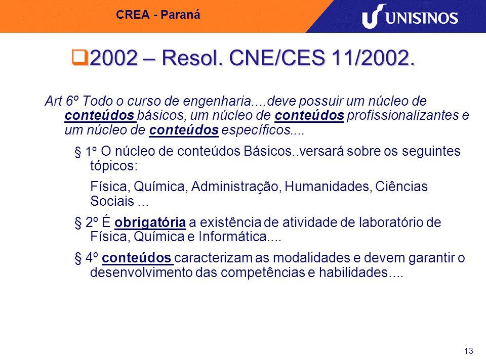 CREA - Paraná 2002 – Resol. CNE/CES 11/2002.