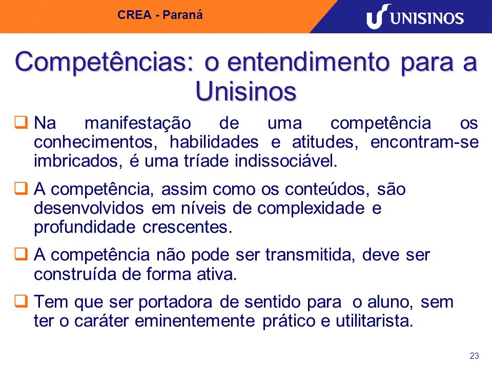 Competências: o entendimento para a Unisinos