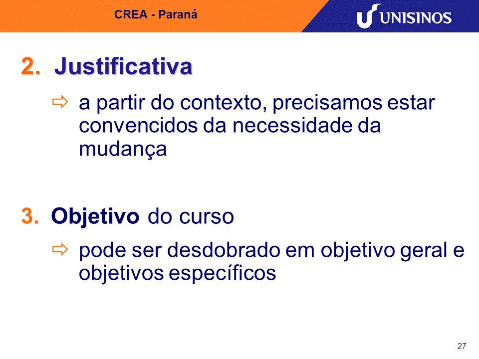 2. Justificativa Objetivo do curso