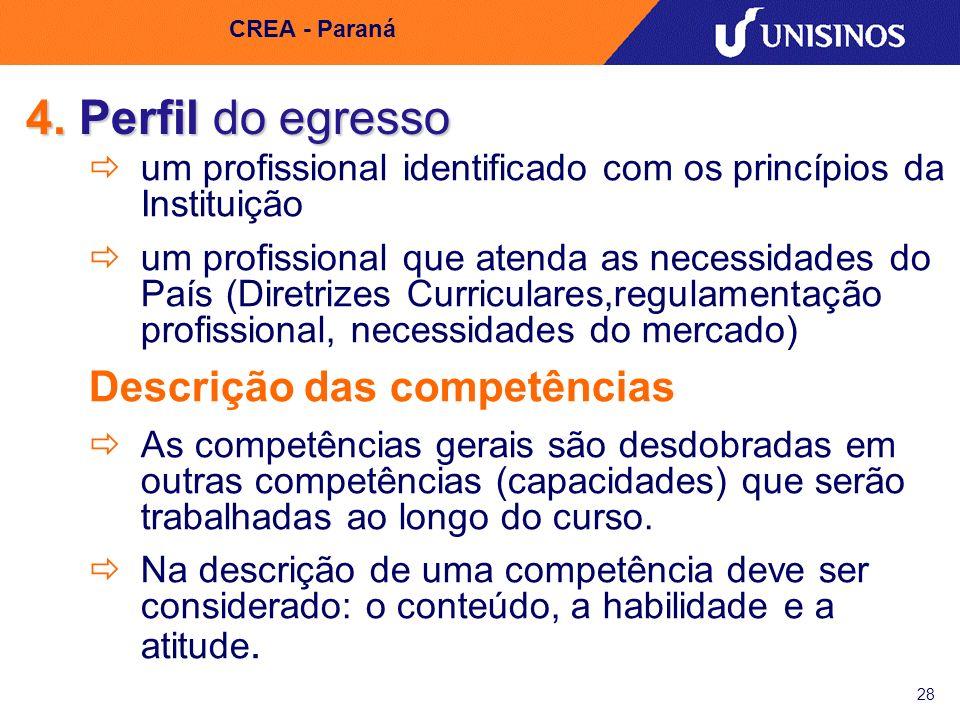 4. Perfil do egresso Descrição das competências