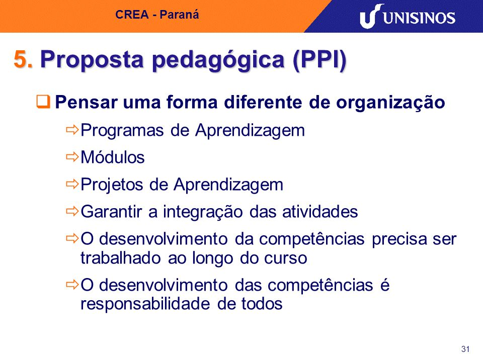 5. Proposta pedagógica (PPI)