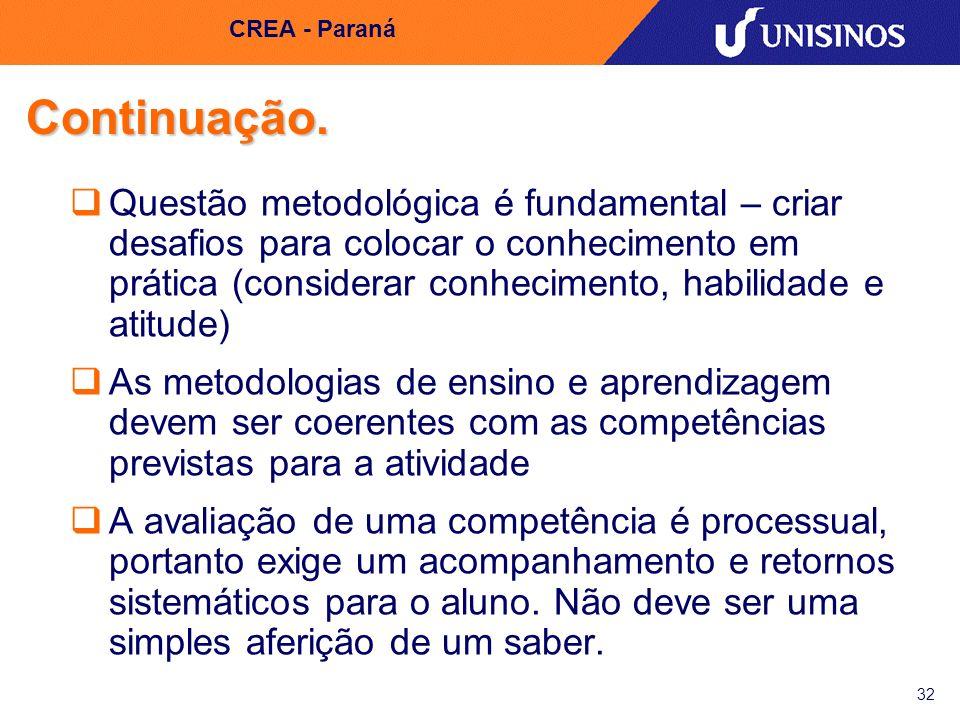 CREA - Paraná Continuação.