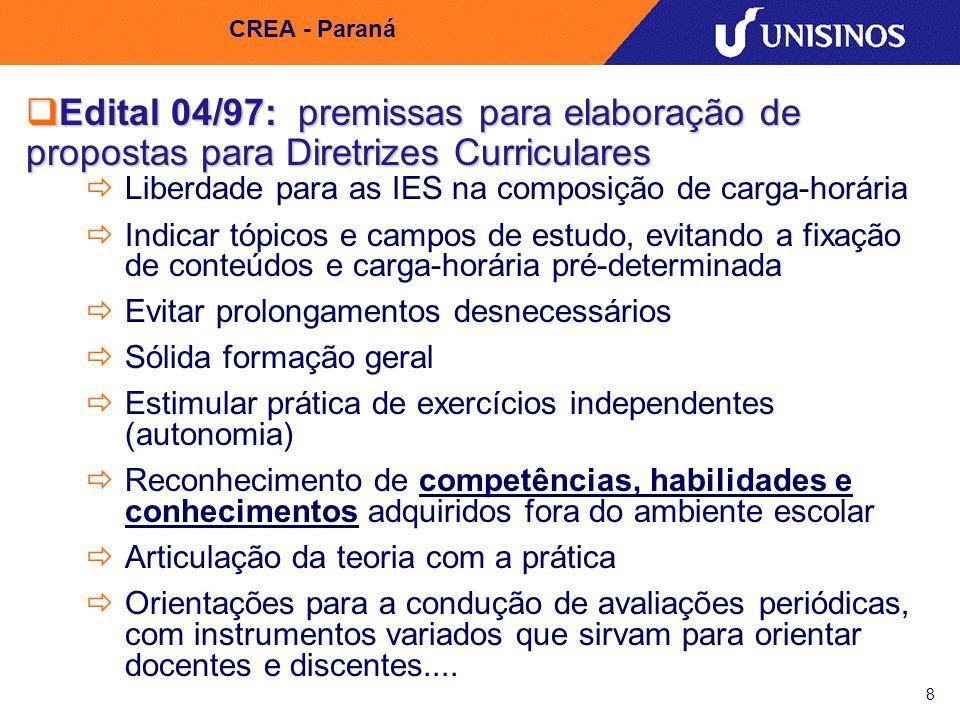 CREA - Paraná Edital 04/97: premissas para elaboração de propostas para Diretrizes Curriculares.