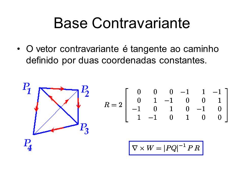 Base Contravariante O vetor contravariante é tangente ao caminho definido por duas coordenadas constantes.