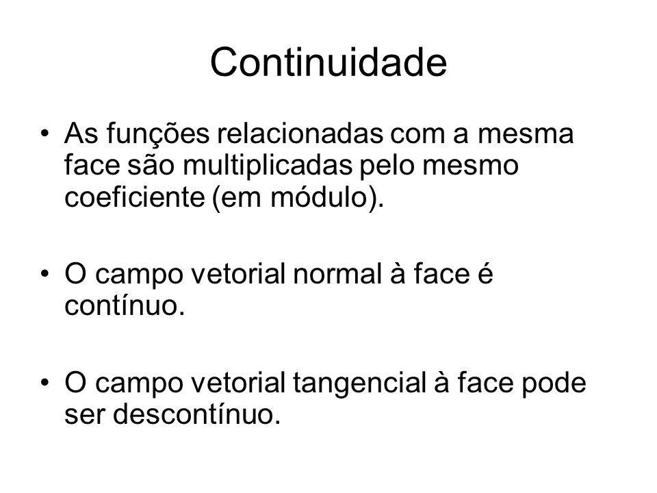Continuidade As funções relacionadas com a mesma face são multiplicadas pelo mesmo coeficiente (em módulo).