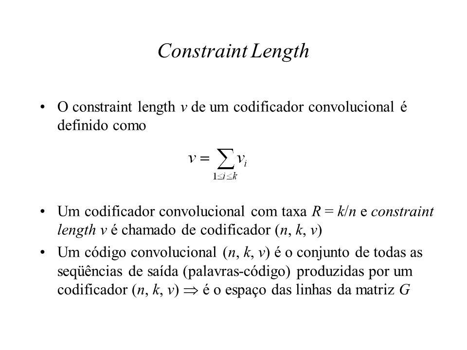 Constraint LengthO constraint length v de um codificador convolucional é definido como.
