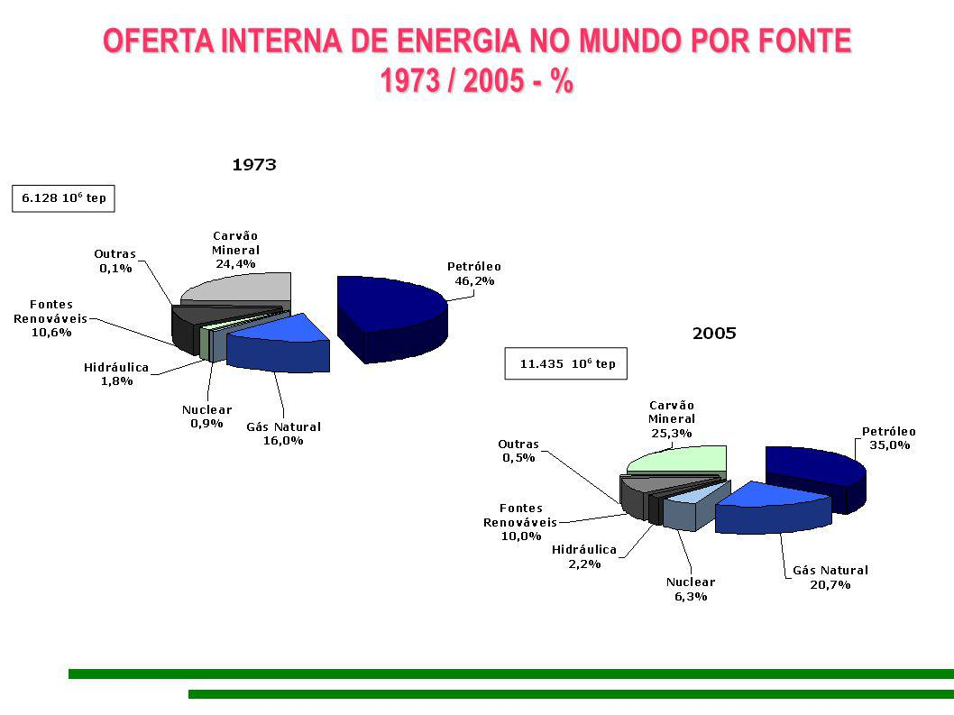 OFERTA INTERNA DE ENERGIA NO MUNDO POR FONTE