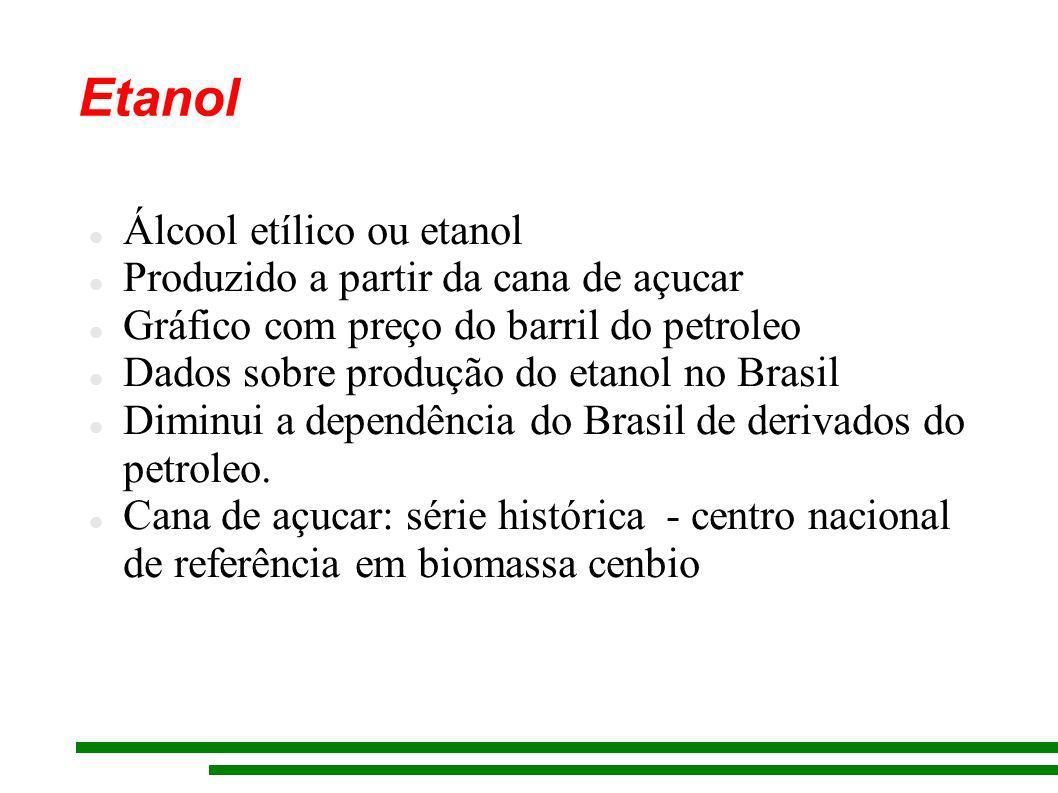 Etanol Álcool etílico ou etanol Produzido a partir da cana de açucar