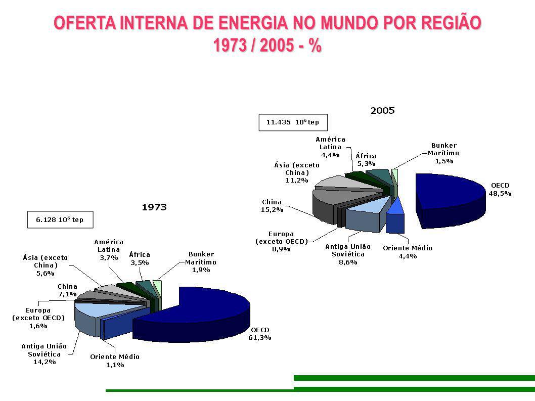 OFERTA INTERNA DE ENERGIA NO MUNDO POR REGIÃO