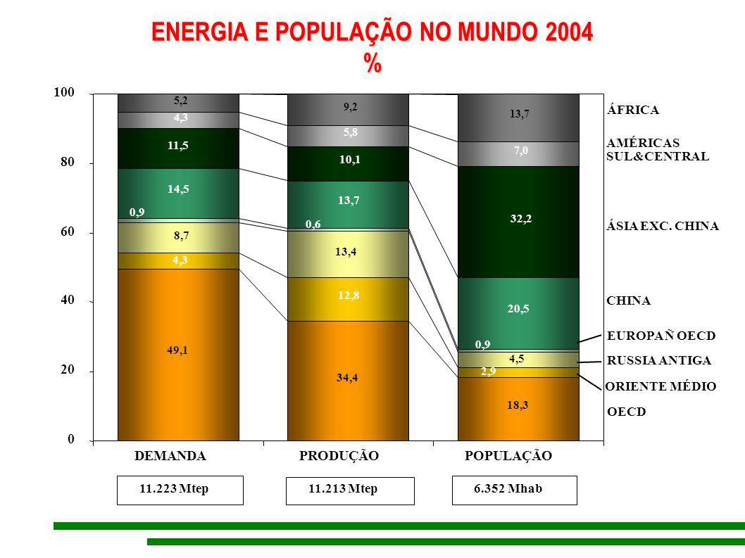 ENERGIA E POPULAÇÃO NO MUNDO 2004