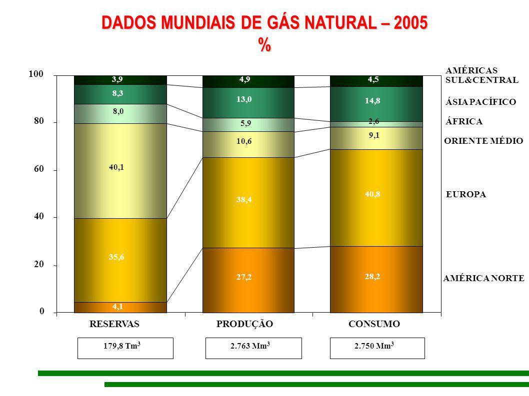 DADOS MUNDIAIS DE GÁS NATURAL – 2005
