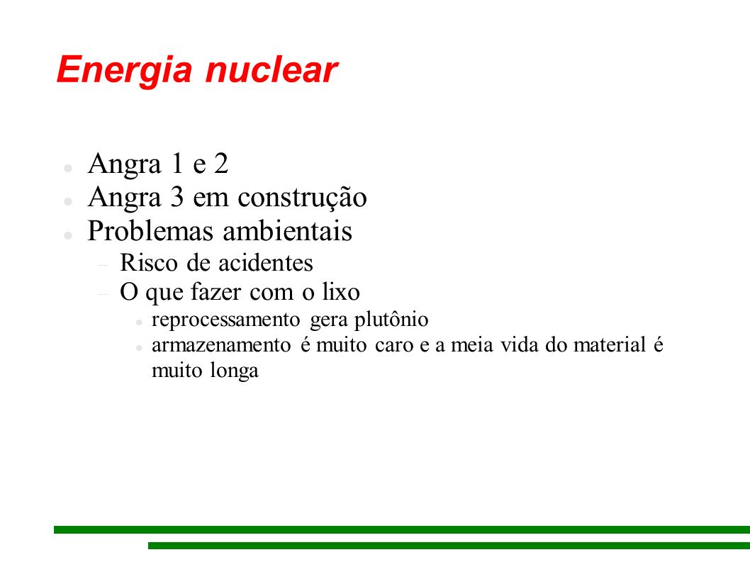 Energia nuclear Angra 1 e 2 Angra 3 em construção Problemas ambientais