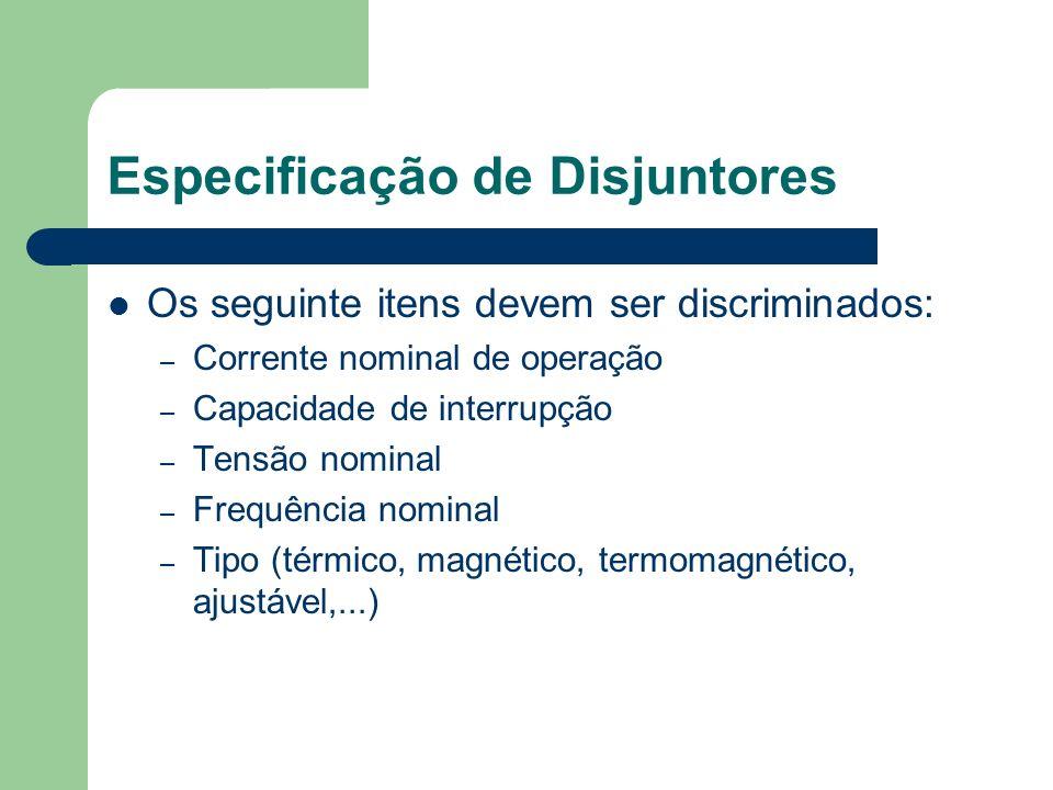 Especificação de Disjuntores
