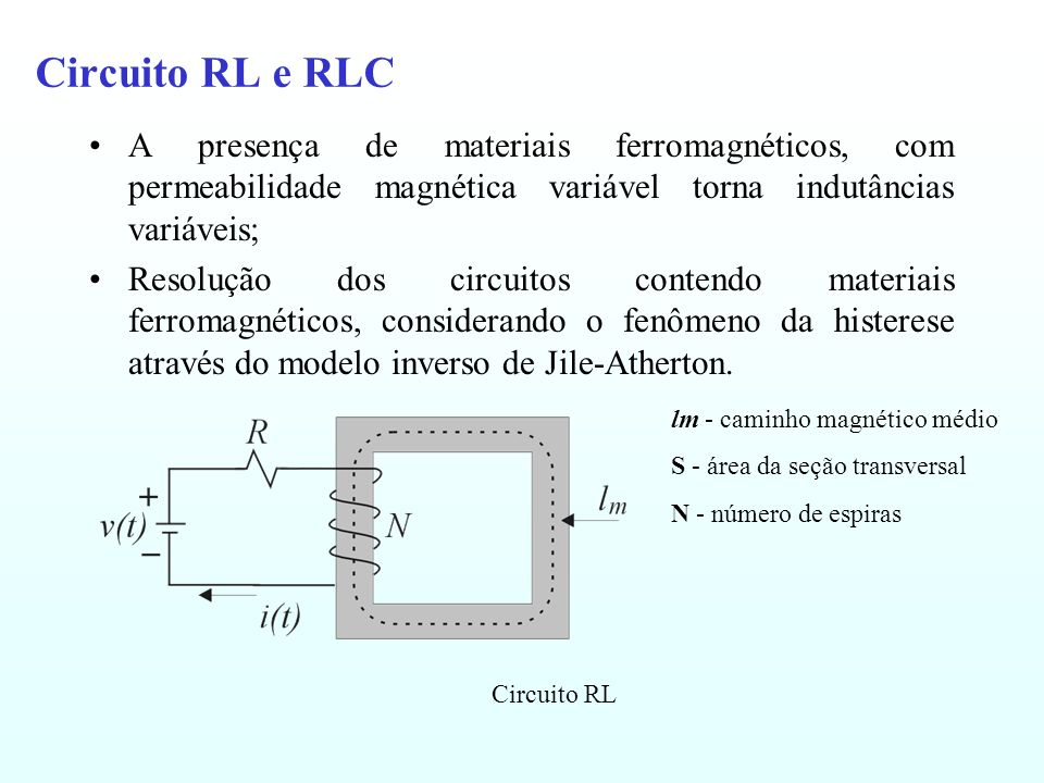 Circuito RL e RLC A presença de materiais ferromagnéticos, com permeabilidade magnética variável torna indutâncias variáveis;