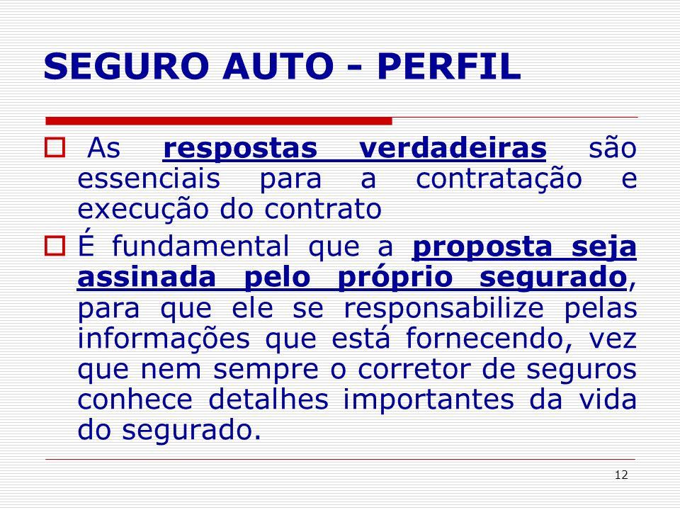 SEGURO AUTO - PERFIL As respostas verdadeiras são essenciais para a contratação e execução do contrato.