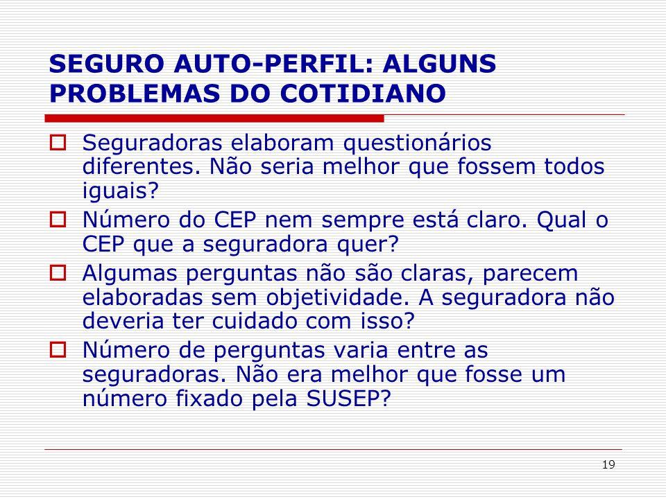 SEGURO AUTO-PERFIL: ALGUNS PROBLEMAS DO COTIDIANO