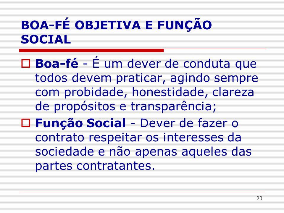 BOA-FÉ OBJETIVA E FUNÇÃO SOCIAL