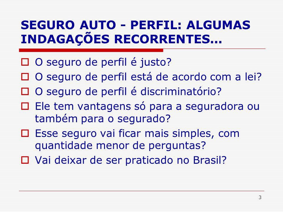 SEGURO AUTO - PERFIL: ALGUMAS INDAGAÇÕES RECORRENTES...