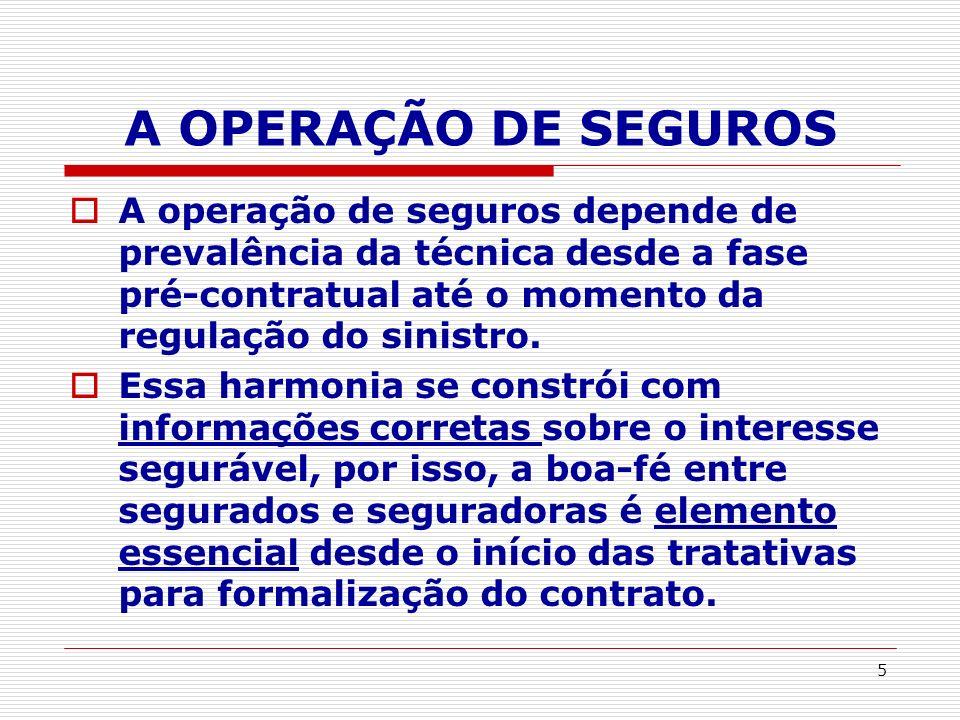 A OPERAÇÃO DE SEGUROS A operação de seguros depende de prevalência da técnica desde a fase pré-contratual até o momento da regulação do sinistro.