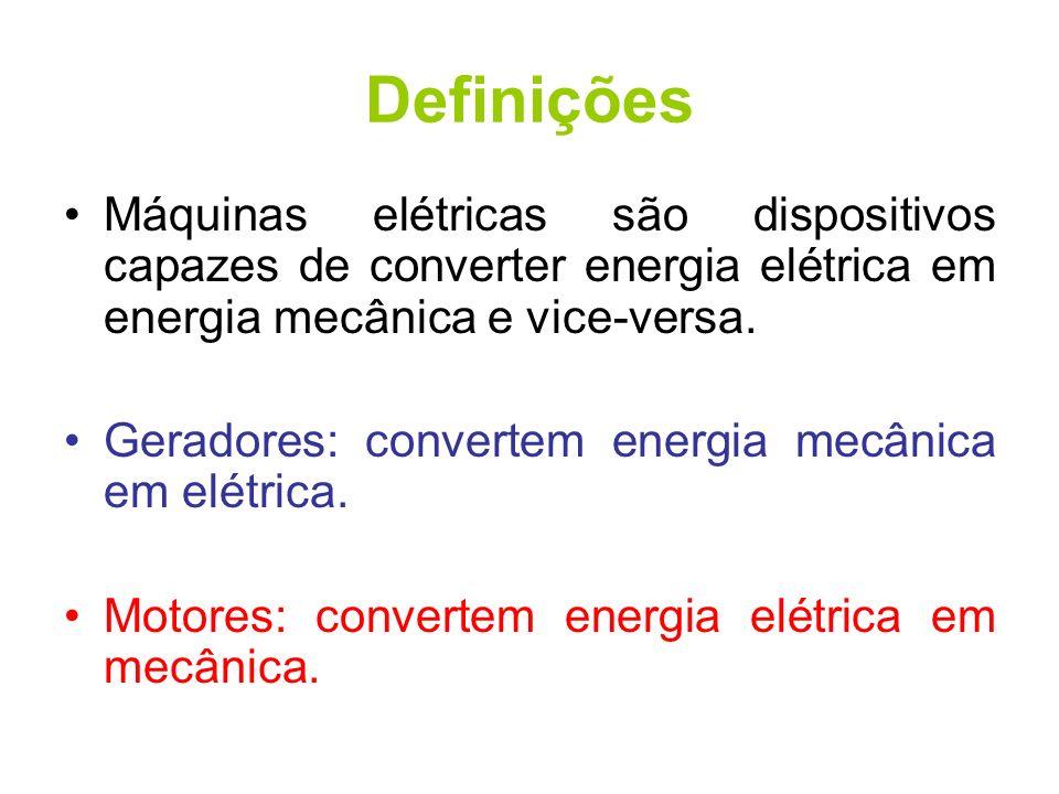 Definições Máquinas elétricas são dispositivos capazes de converter energia elétrica em energia mecânica e vice-versa.