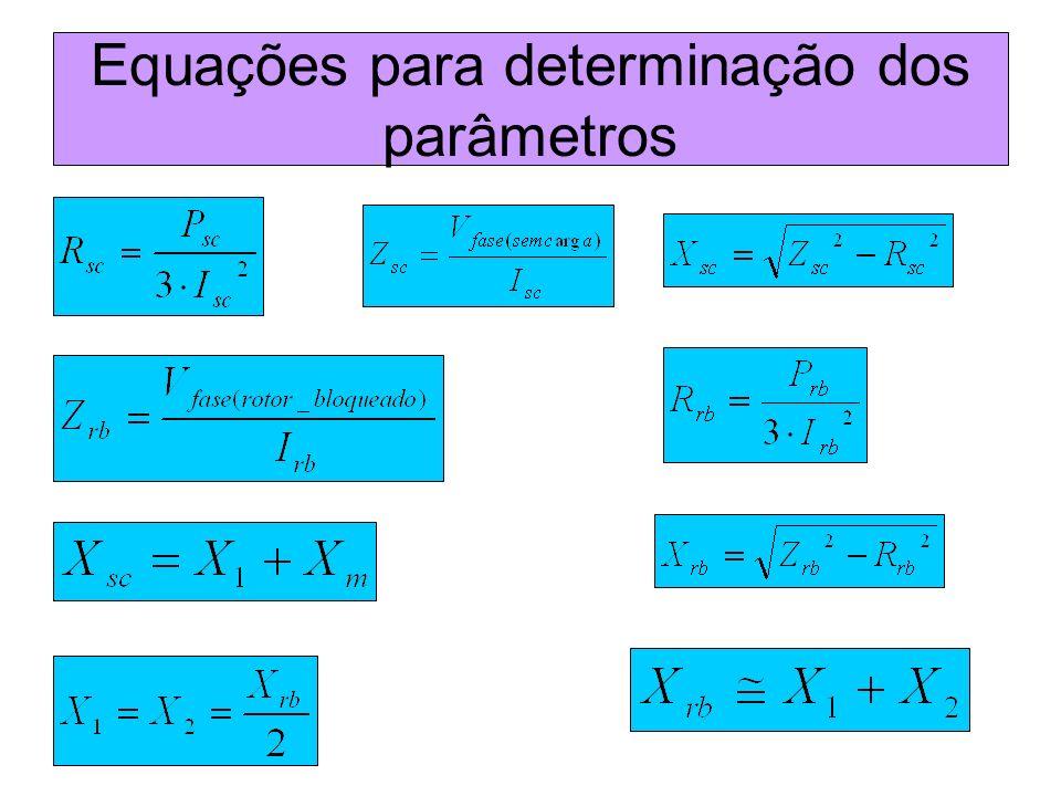 Equações para determinação dos parâmetros