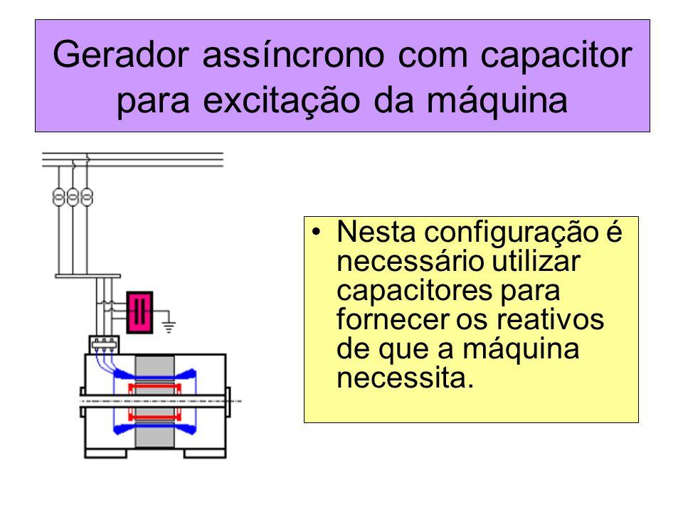 Gerador assíncrono com capacitor para excitação da máquina