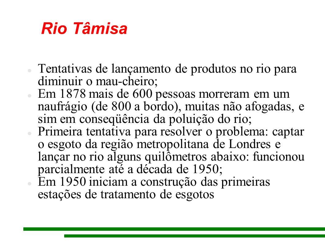 Rio Tâmisa Tentativas de lançamento de produtos no rio para diminuir o mau-cheiro;