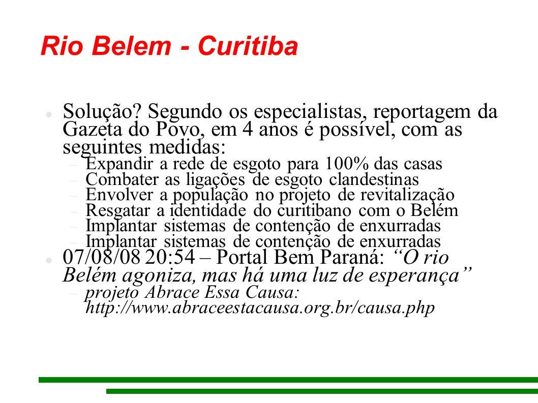 Rio Belem - Curitiba Solução Segundo os especialistas, reportagem da Gazeta do Povo, em 4 anos é possível, com as seguintes medidas: