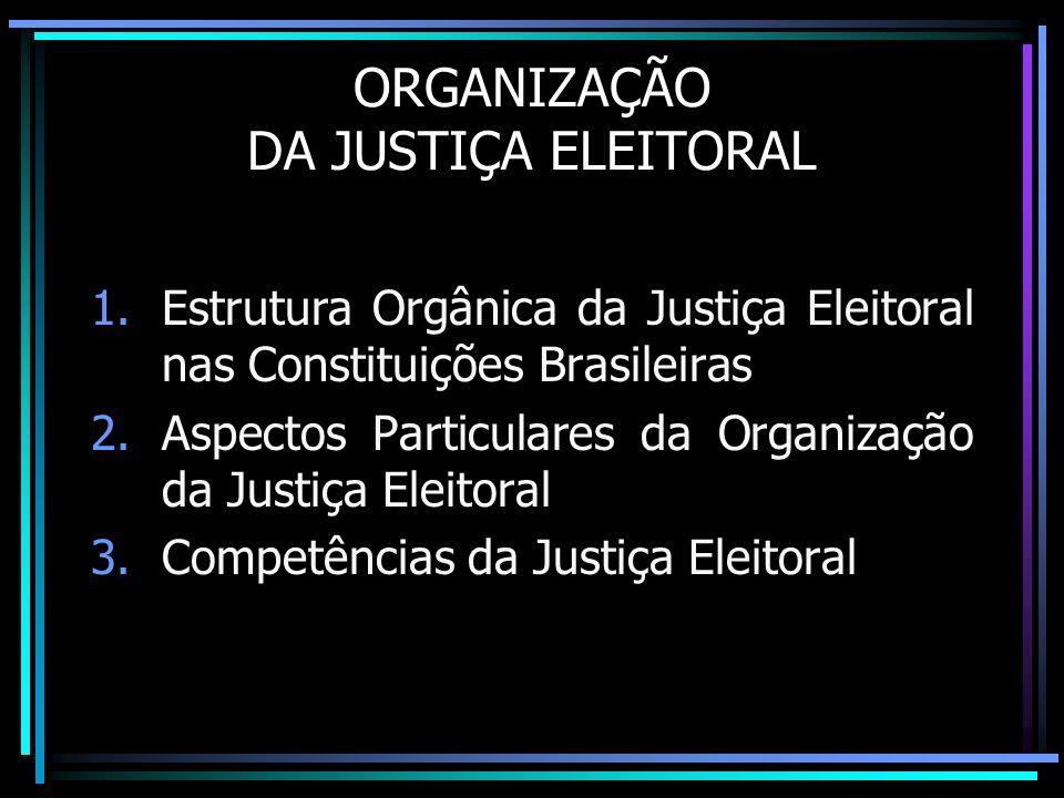 ORGANIZAÇÃO DA JUSTIÇA ELEITORAL