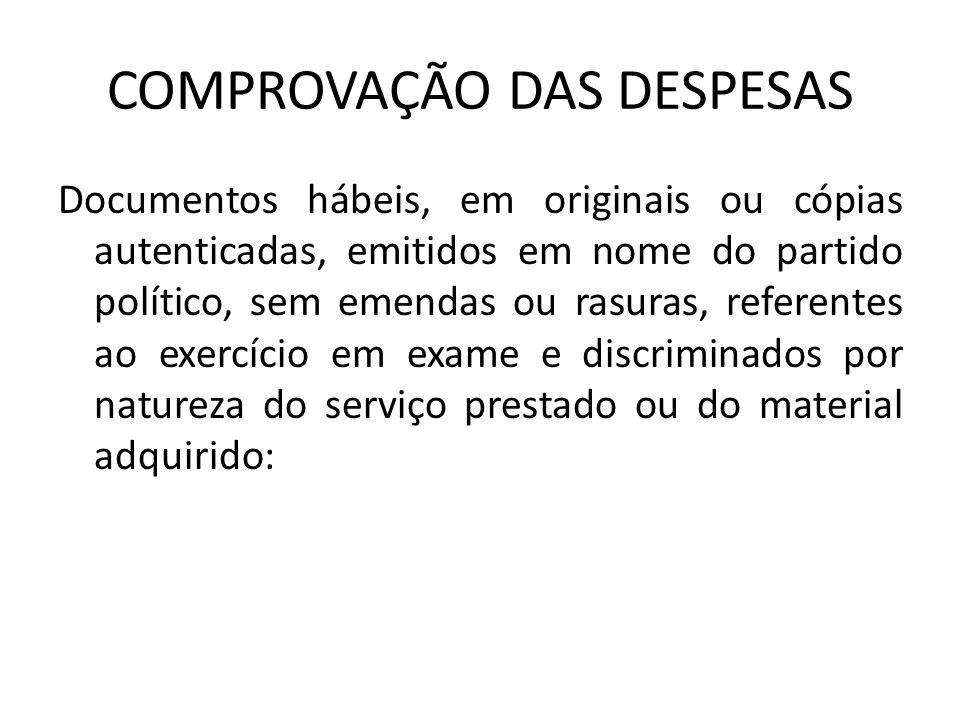 COMPROVAÇÃO DAS DESPESAS