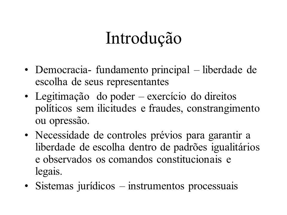 IntroduçãoDemocracia- fundamento principal – liberdade de escolha de seus representantes.