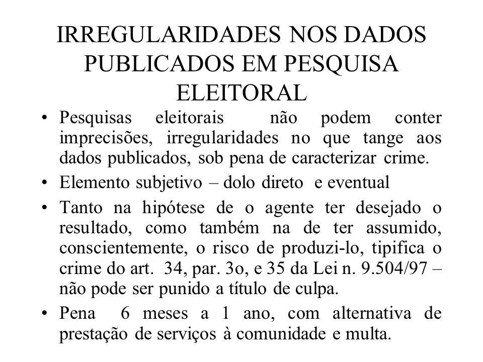 IRREGULARIDADES NOS DADOS PUBLICADOS EM PESQUISA ELEITORAL