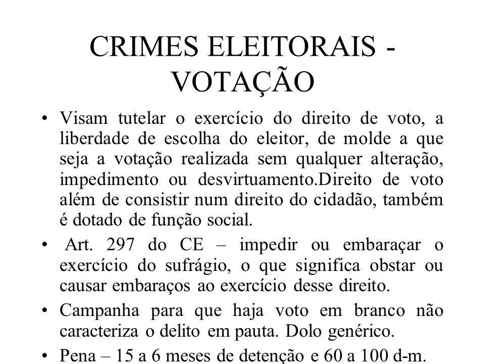 CRIMES ELEITORAIS - VOTAÇÃO