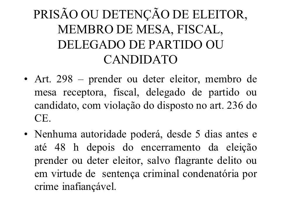 PRISÃO OU DETENÇÃO DE ELEITOR, MEMBRO DE MESA, FISCAL, DELEGADO DE PARTIDO OU CANDIDATO
