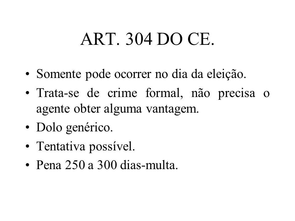 ART. 304 DO CE. Somente pode ocorrer no dia da eleição.