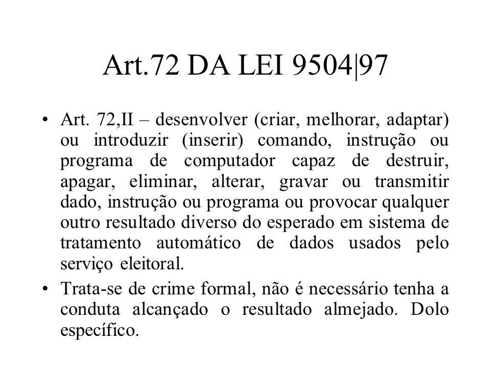 Art.72 DA LEI 9504|97