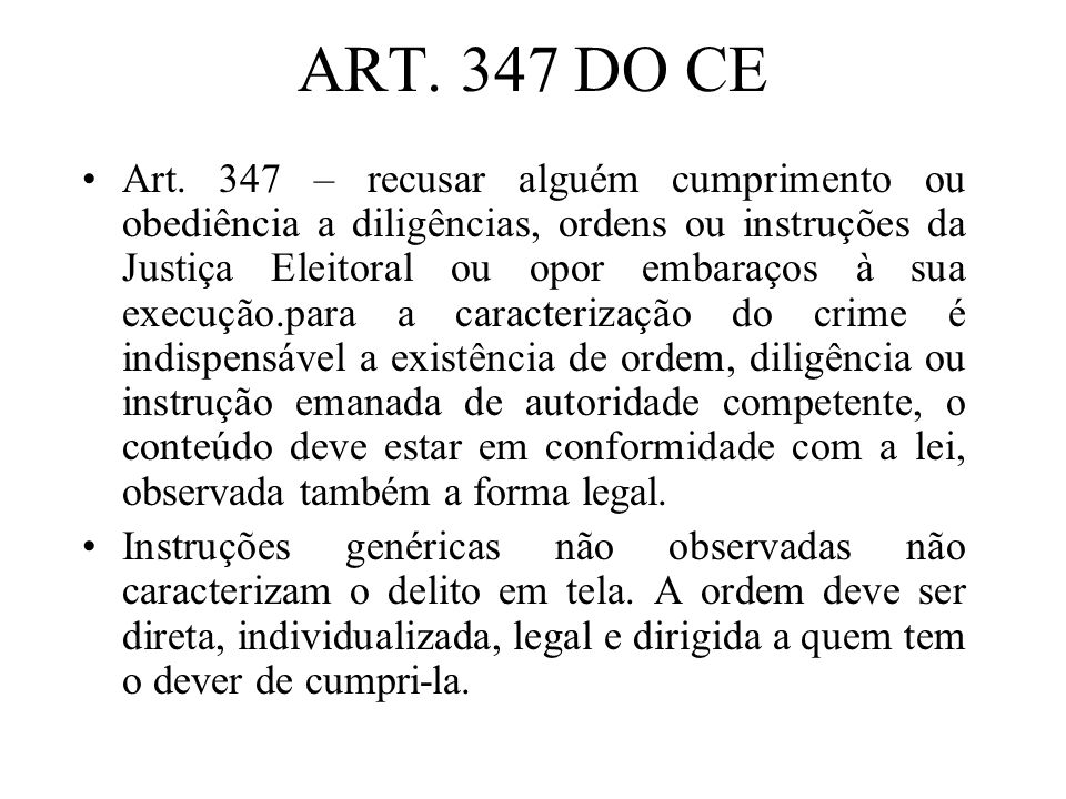 ART. 347 DO CE