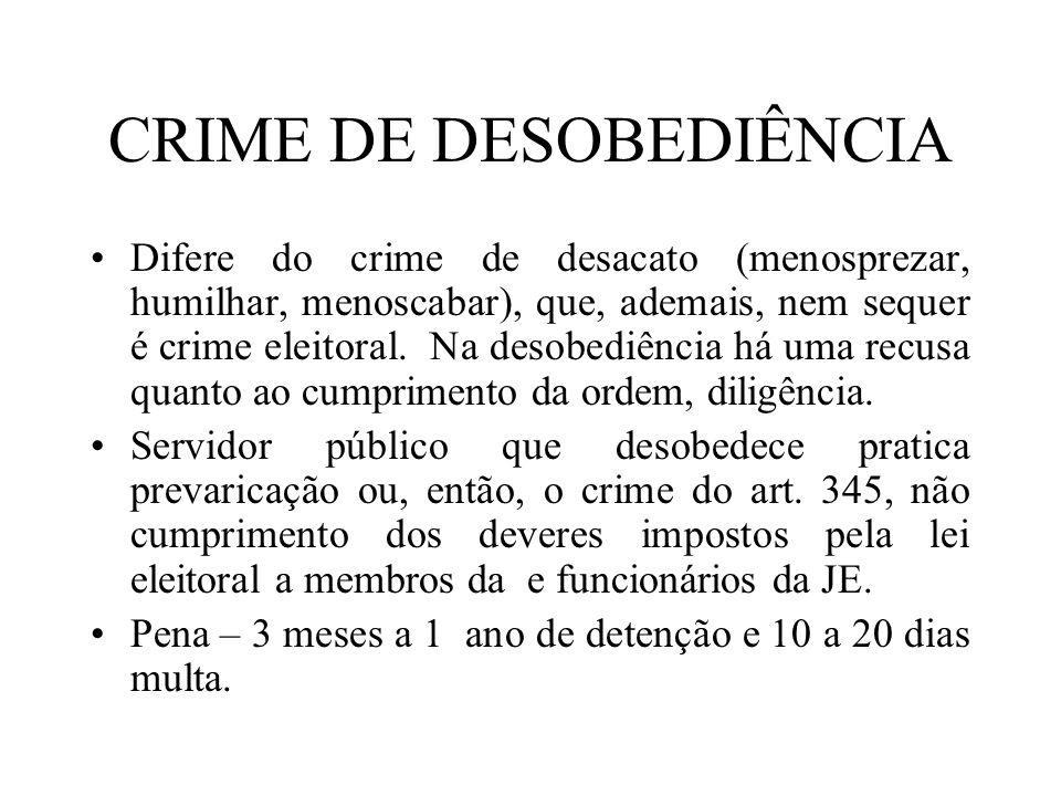 CRIME DE DESOBEDIÊNCIA
