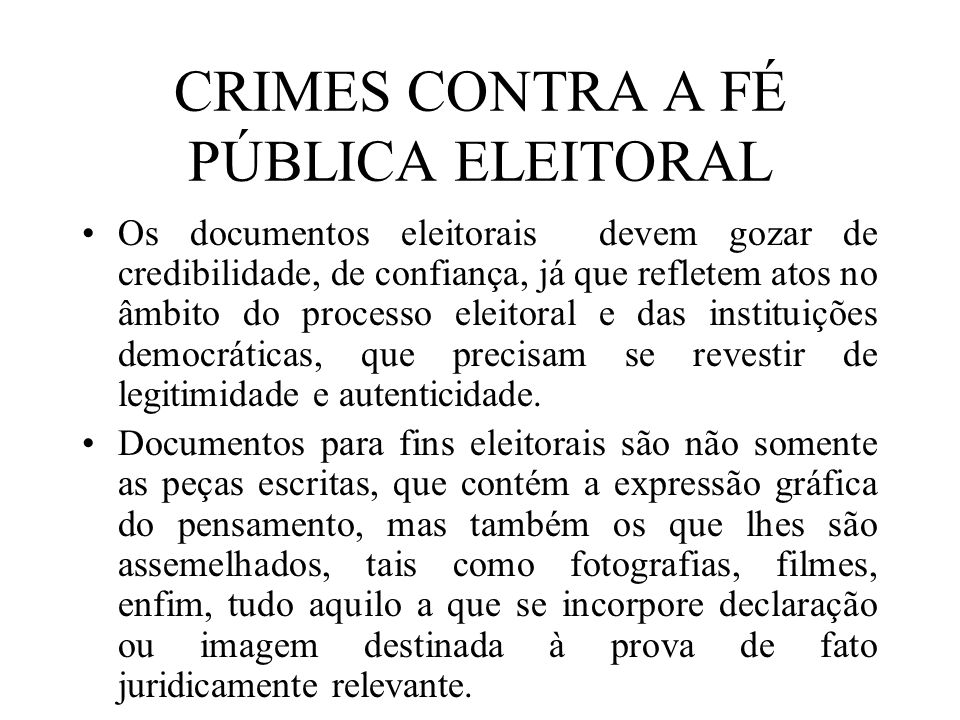 CRIMES CONTRA A FÉ PÚBLICA ELEITORAL